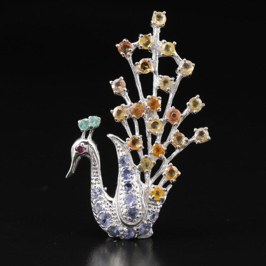 Sterling Silver Multi-Gemstone Peacock Motif Brooch