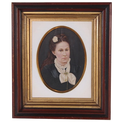 Hand-Painted Portrait Photograph of Sara Elizabeth Sawhill, Late 19th Century