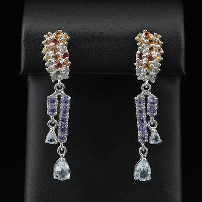Sterling Silver Dangle Earrings Featuring Aquamarine, Sapphire and Tanzanite