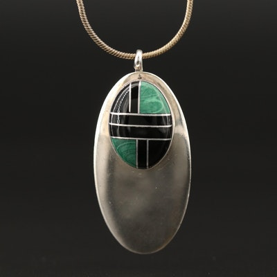 Sterling Silver Oval Inlay Pendant Necklace