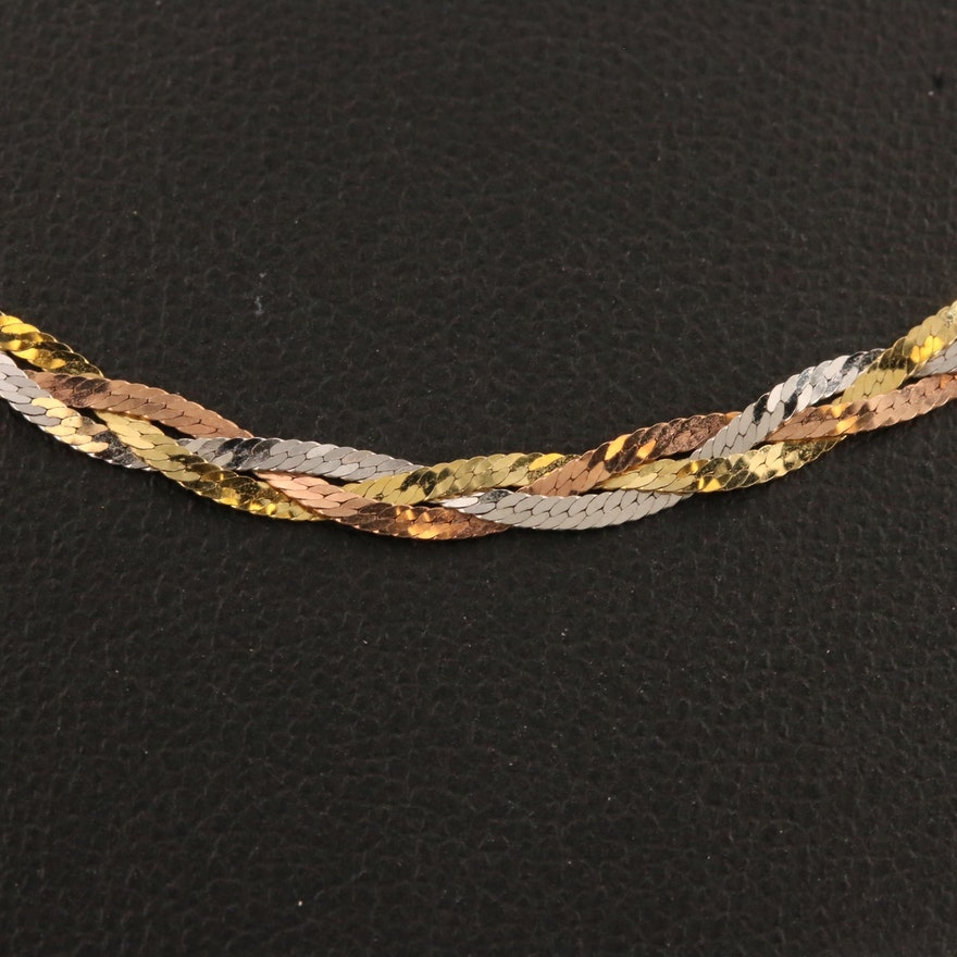 14K Tri-Color Braided Herringbone Chain Necklace