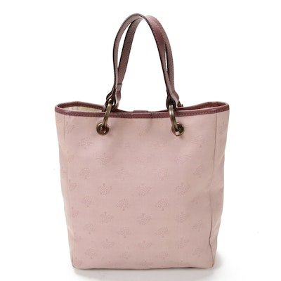 Mulberry Bucket Bag in Pink Canvas and Merlot Leather
