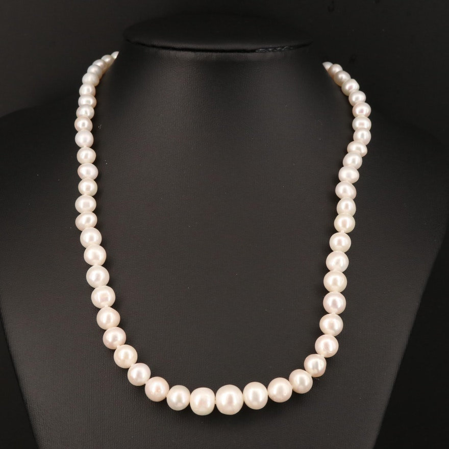Graduated Pearl Necklace with Sterling Silver Clasp