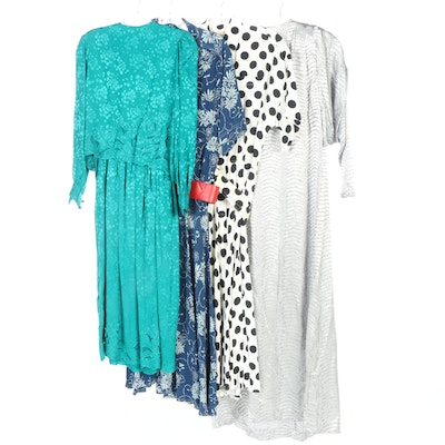 Vintage Liz Claiborne, Anne Crimmins and David Brown Patterned Dresses