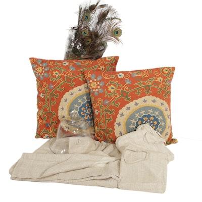 Pottery Barn Natural Woven Raw Silk Drapery Panels and Coordinating Decor