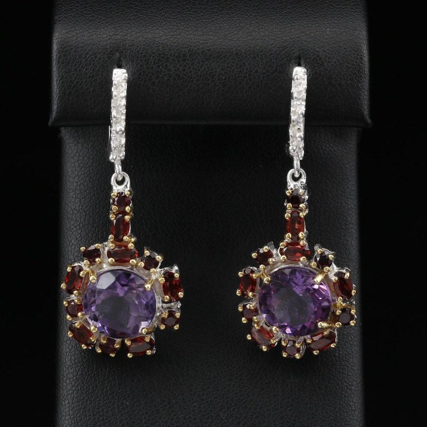 Sterling Silver Amethyst and Garnet Drop Earrings