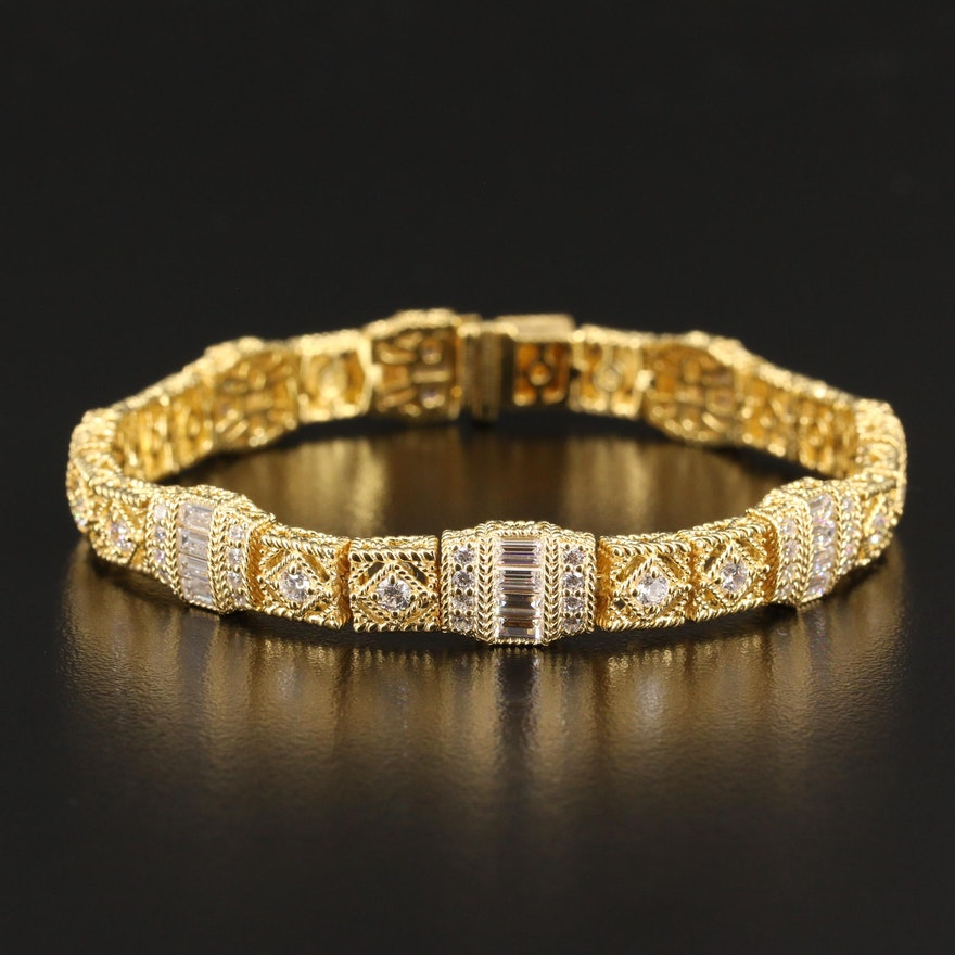 Judith Ripka Sterling Silver Cubic Zirconia Fancy Link Bracelet