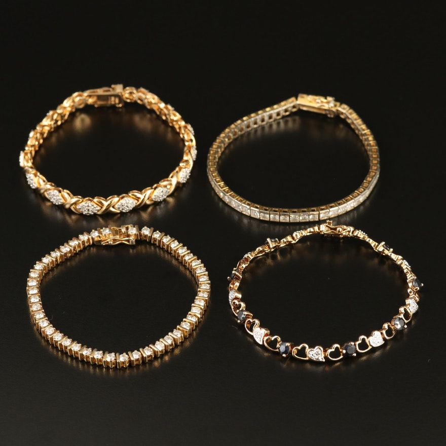 Sterling Silver  Diamond, Cubic Zirconia and Sapphire Line and Link Bracelets