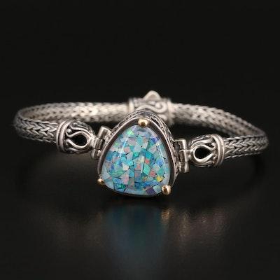 Sterling Silver Opal Mosaic Triplet Triangular Bracelet