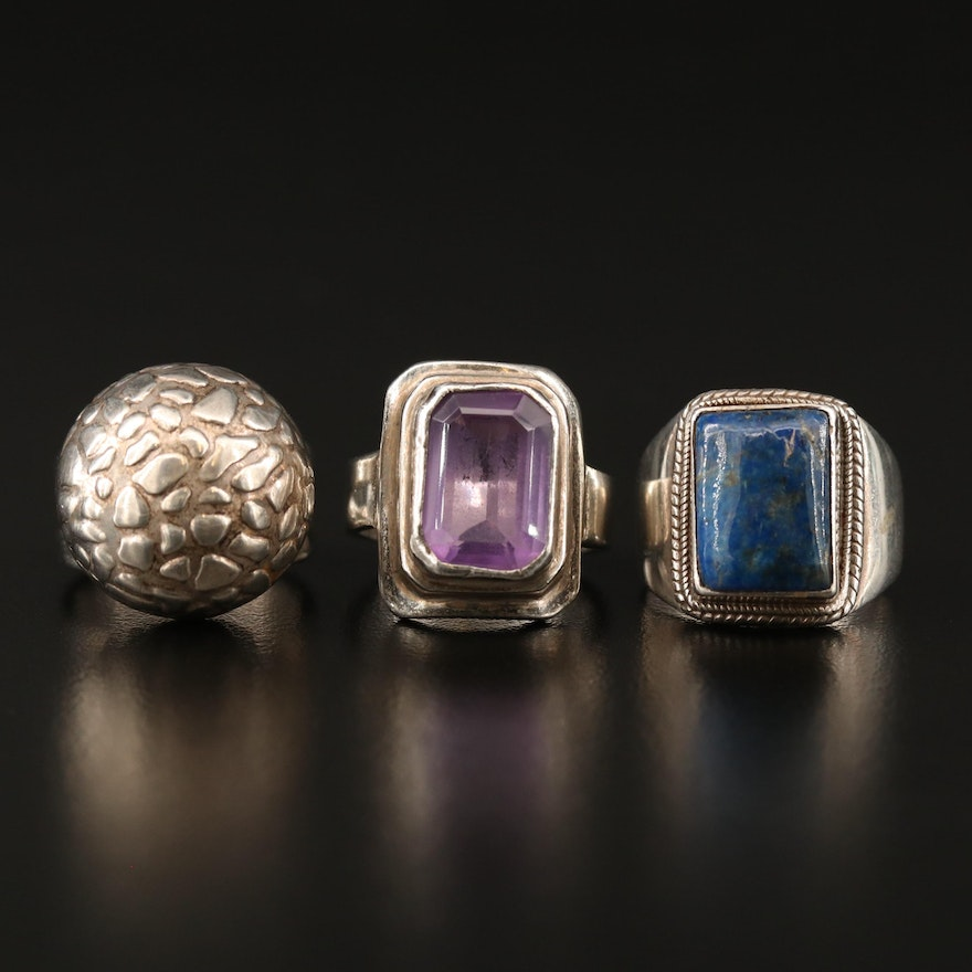 Sterling Rings with Lapis Lazuli, Amethyst and Sajen Textured Dome Ring