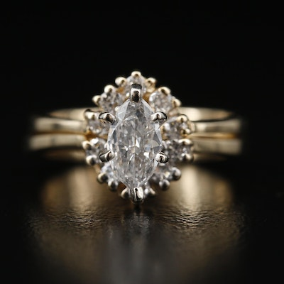 14K Diamond Engagement Ring and Enhancer Set Featuring Euro-Shank