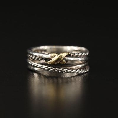 "David Yurman Sterling Silver ""X"" Crossover Ring with 18K Accents"