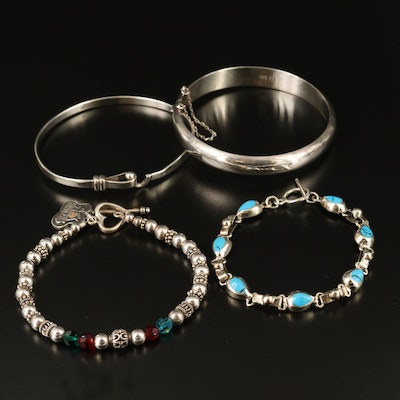 Sterling Glass and Faux Turquoise Bracelets
