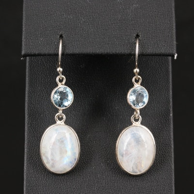 Sterling Silver Topaz and Rainbow Moonstone Dangle Earrings