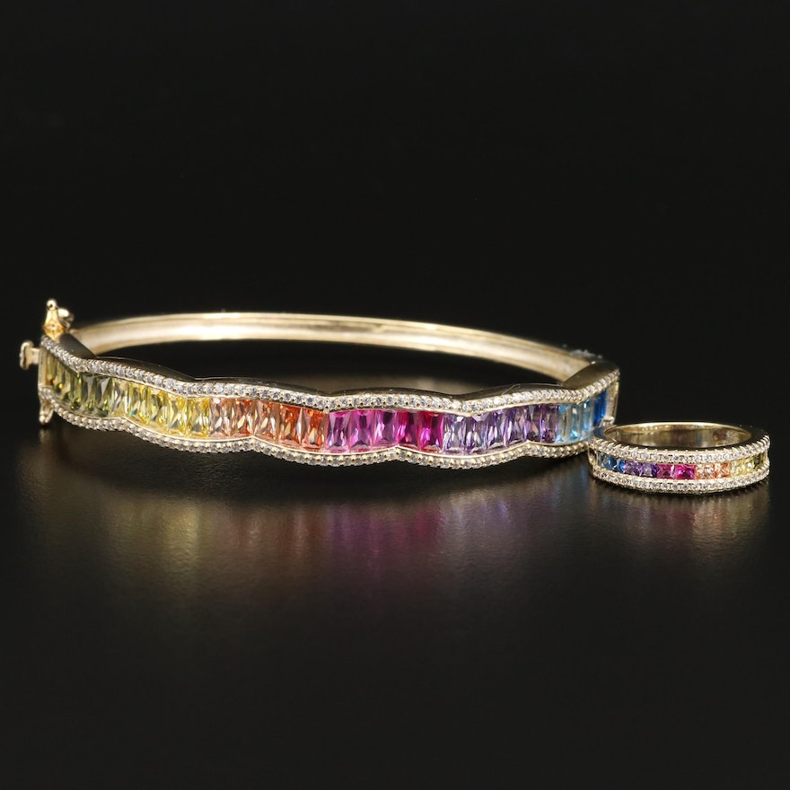 Sterling Silver Rainbow Bangle and Ring