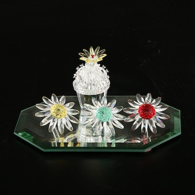 Swarovski Crystal Cactus and Flower Figurines with Mirrored Plate