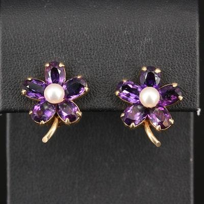 14K Pearl and Amethyst Flower Earrings
