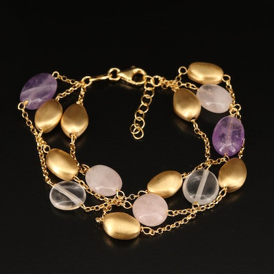 Sterling Silver Three Strand Station Bracelet with Amethyst and Rose Quartz