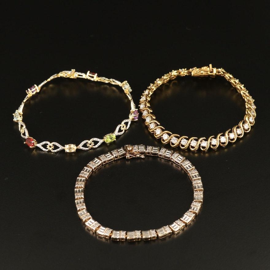 Sterling Topaz, Amethyst and Diamond Bracelets