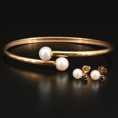 14K Pearl Bypass Bracelet with Pearl and Sapphire Earrings