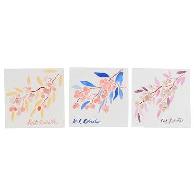 Kait Roberts Modernist Watercolor Paintings of Berries, 2020