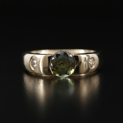 14K Tourmaline and Gypsy Set Diamond Ring