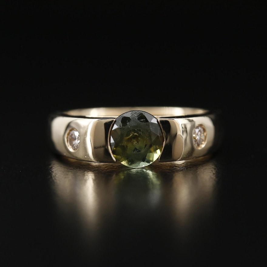 14K Tourmaline and Gypsy Set Diamond Ring