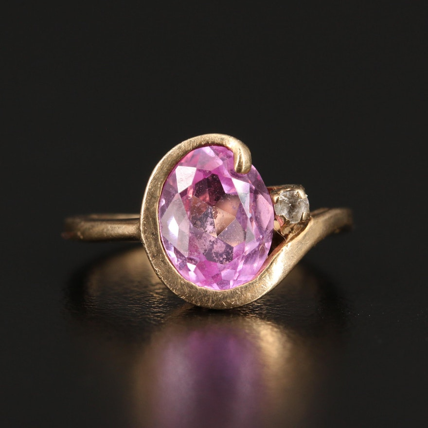 10K Pink Sapphire and Spinel Ring