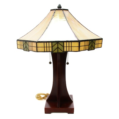 Arts and Crafts Style Stained Glass and Wood Table Lamp, Vintage