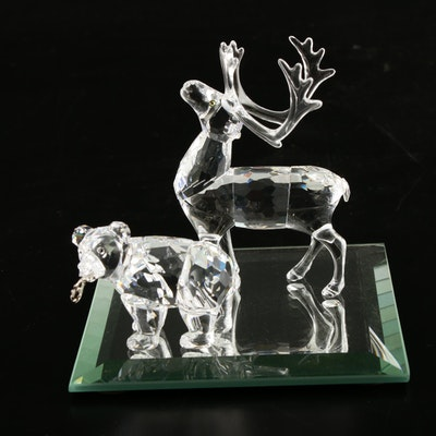 Swarovski Crystal Grizzly Bear and Reindeer Figurines on Mirrored Plate
