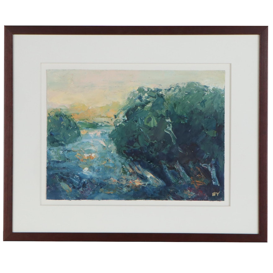 Oil Painting of Impressionist Landscape, Late 20th Century