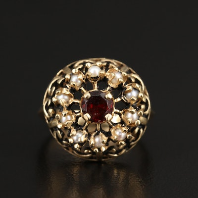 14K Garnet and Seed Pearl Ring