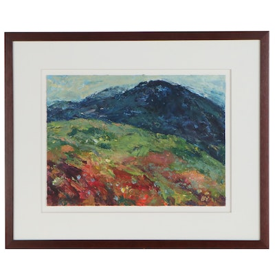 Oil Painting of Impressionist Style Landscape, Late 20th Century