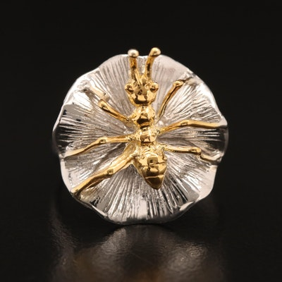 Sterling Ant on Lily Pad Ring