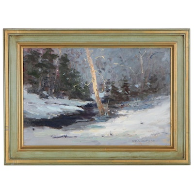 Robert Alan Waltsak Winter Landscape Oil Painting