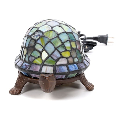 Turtle Shaped Lamp with Slag Glass Shade, Late 20th Century