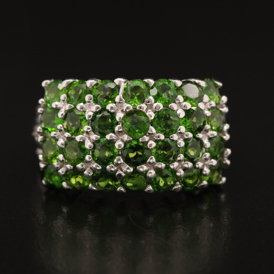 Sterling Silver Multi Row Diopside Ring