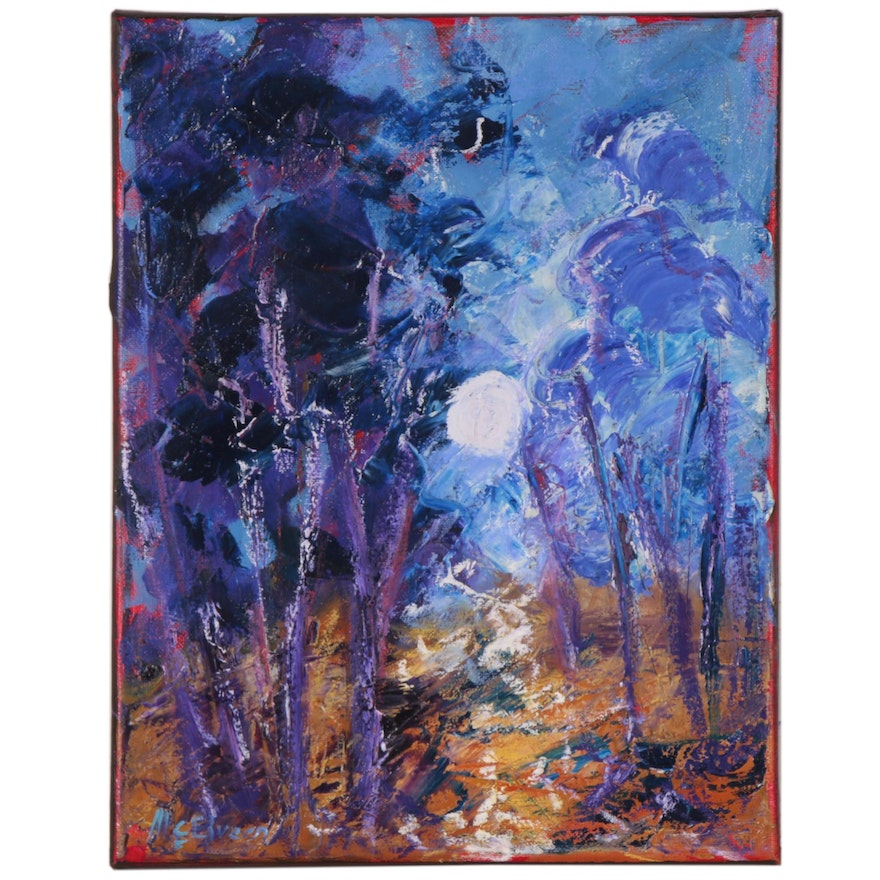 """Claire McElveen Landscape Oil Painting """"Fall Forest Moon"""", 2020"""