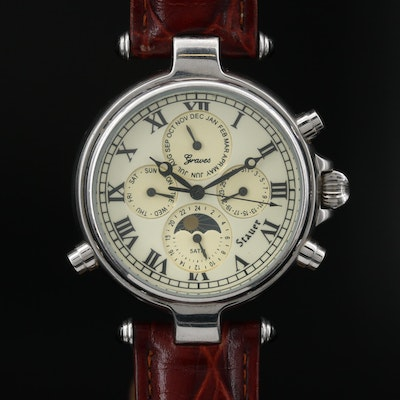 Stauer Graves Stainless Steel Triple Date/Moonphase Automatic Wristwatch