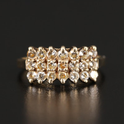 10K Triple Row Cubic Zirconia Ring