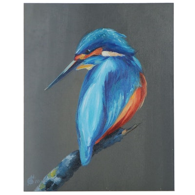 Alyona Glushchenko Oil Painting of a Kingfisher, 2020