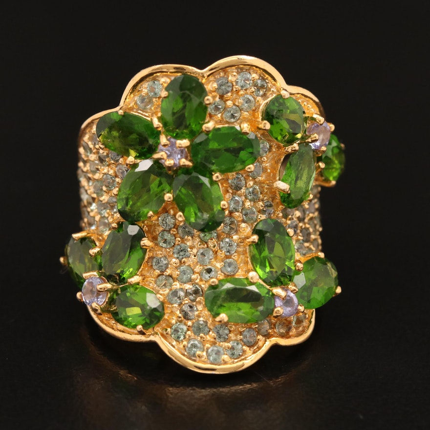 Sterling Diopside and White Sapphire Concave Ring