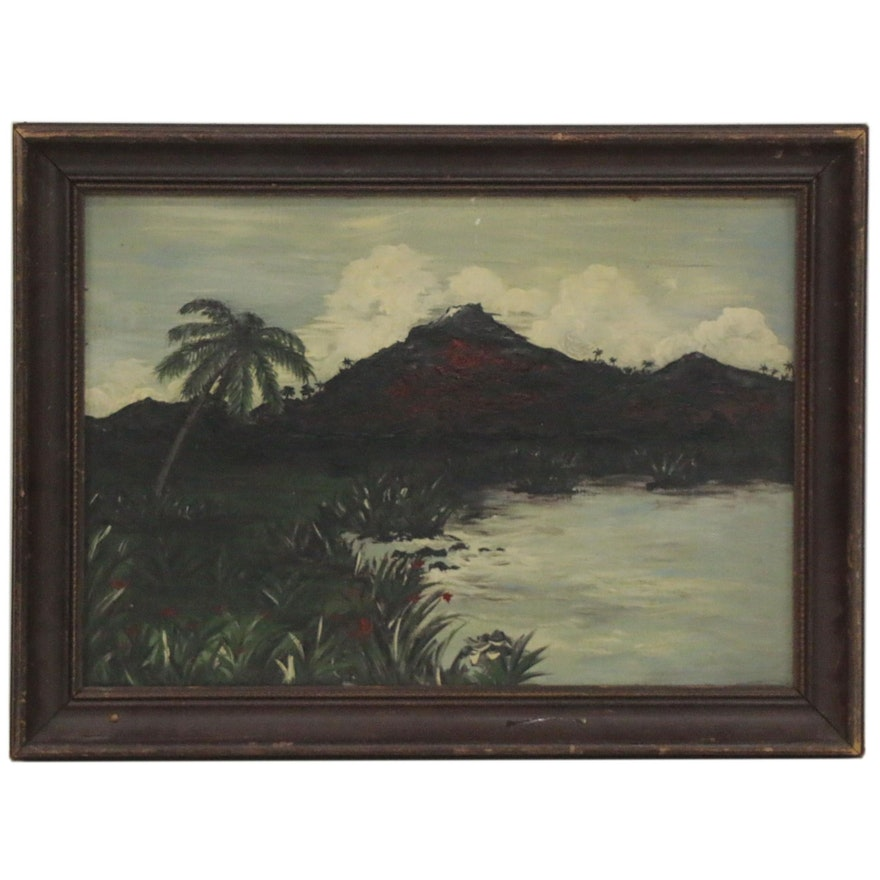 British New Guinea Landscape Oil Painting, 1945