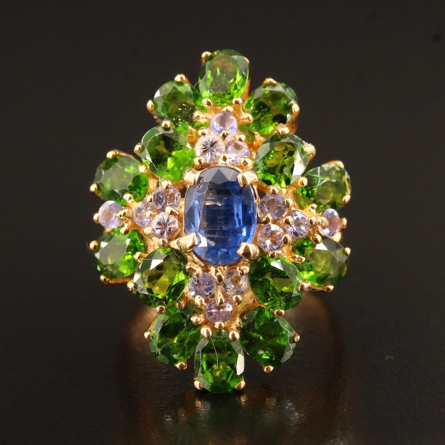 Sterling Kyanite, Tanzanite and Diopside Cluster Ring