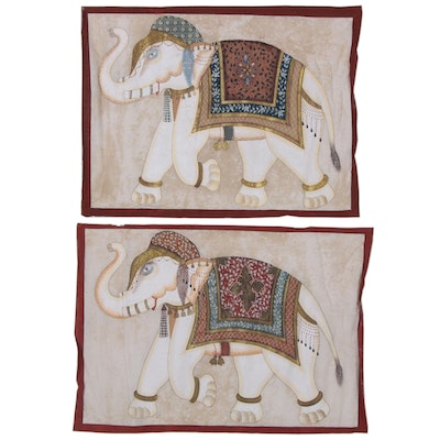 Persian-Indian Mughal Style Gouache Paintings of Elephants