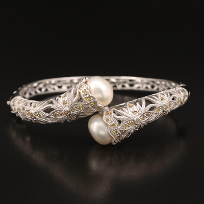 Sterling Pearl and Sapphire Openwork Bypass Bangle