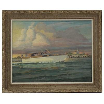 Raymond Crosby Oil Painting of Cabin Cruiser, Late 20th Century