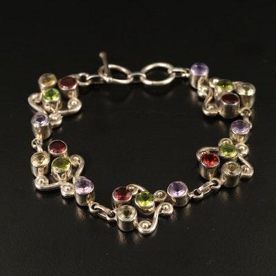 Sterling Silver Amethyst , Garnet and Peridot Bracelet
