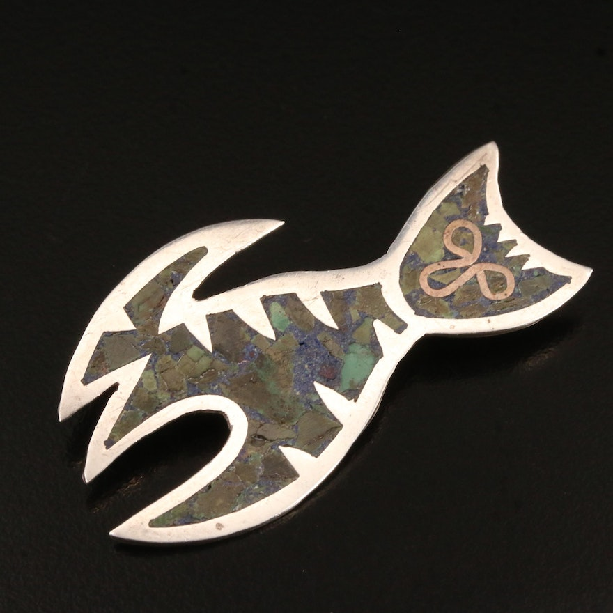 Taxco Mexico Sterling Silver Turquoise and Gemstone Fish Brooch