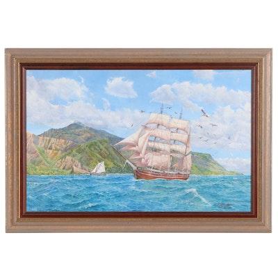 """David Beaudoin Maritime Oil Painting """"Hawaii"""", 2007"""